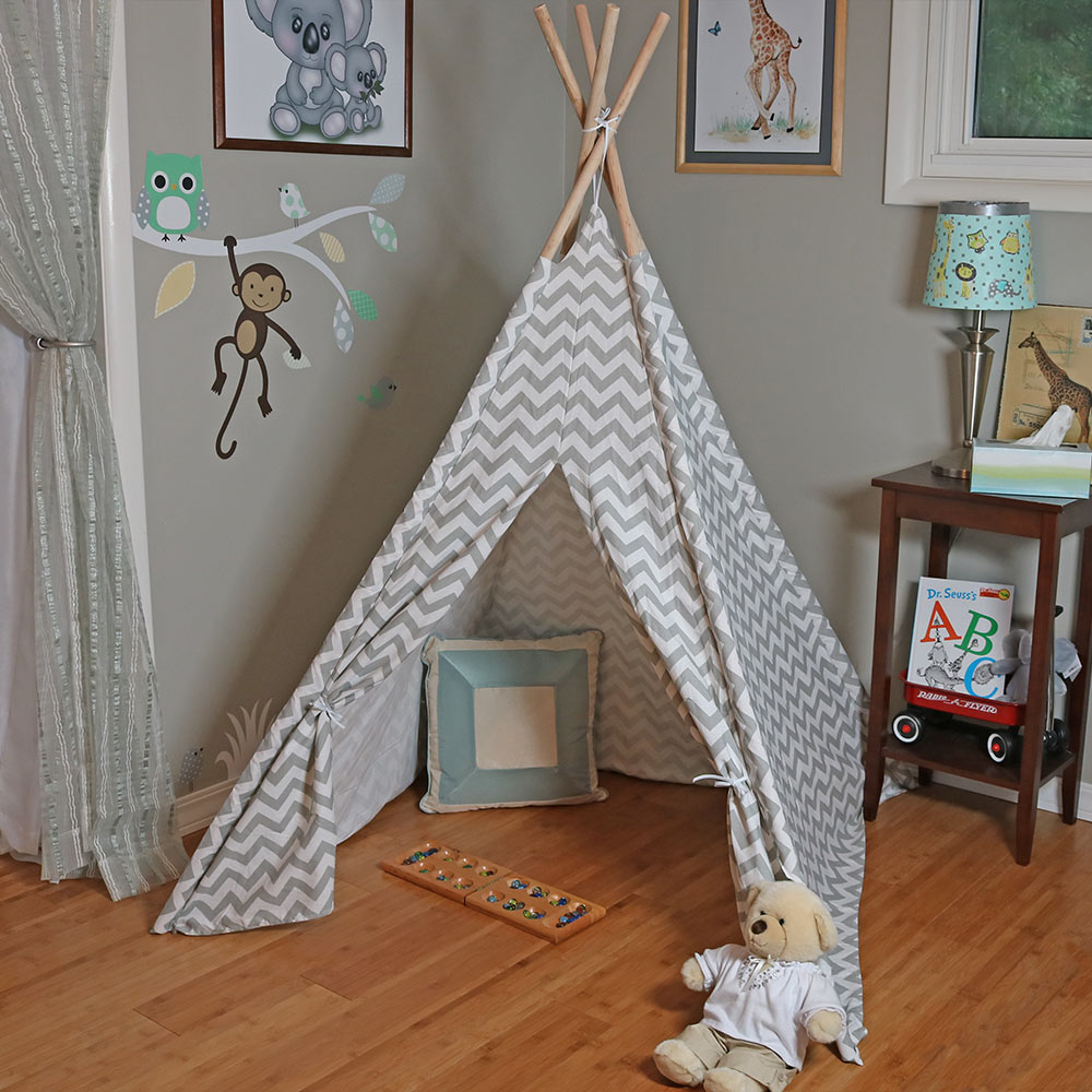 Sunnydaze Large Canvas Kids Teepee Play Tent Photo