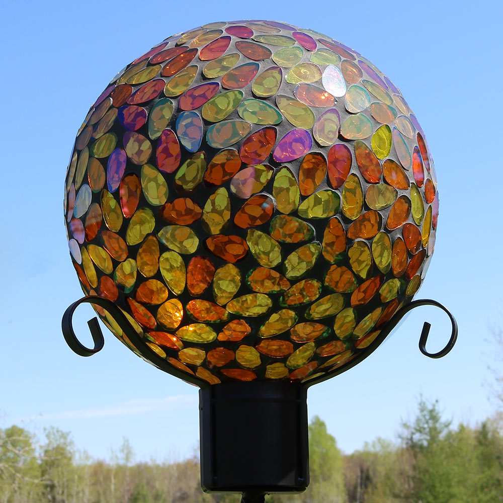 Sunnydaze Mosaic Glass Gazing Globe Ball Gold Picture 895