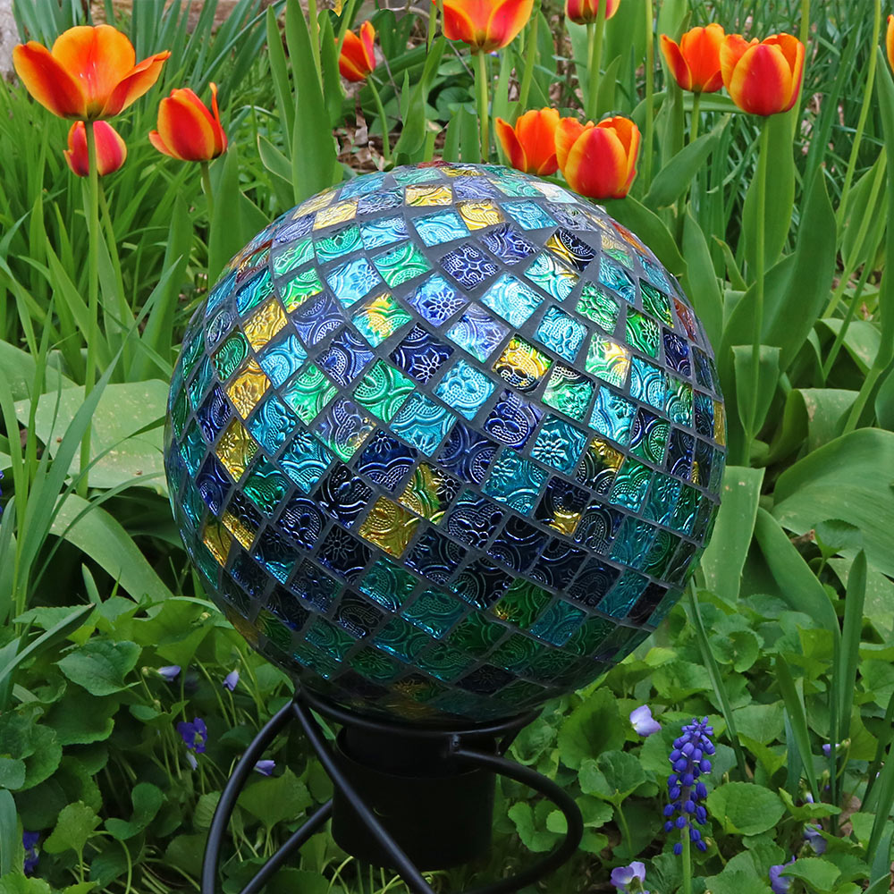 Sunnydaze Mosaic Glass Gazing Globe Ball Blue Picture 895