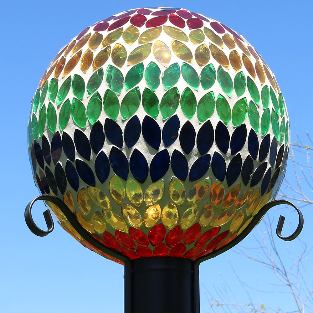 Sunnydaze Mosaic Glass Gazing Globe Ball Rainbow Image 594