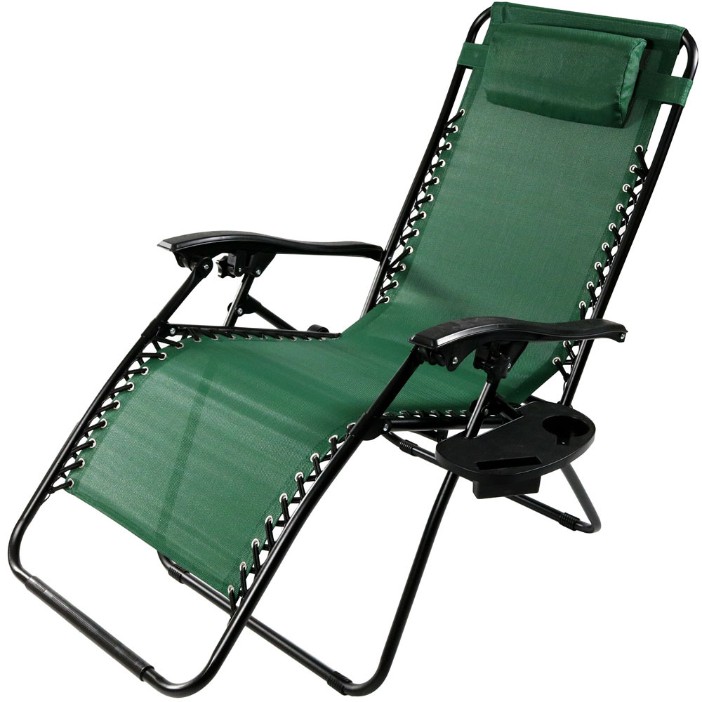 Oversized Zero Gravity Lounge Chair w Pillow & Cup Holder