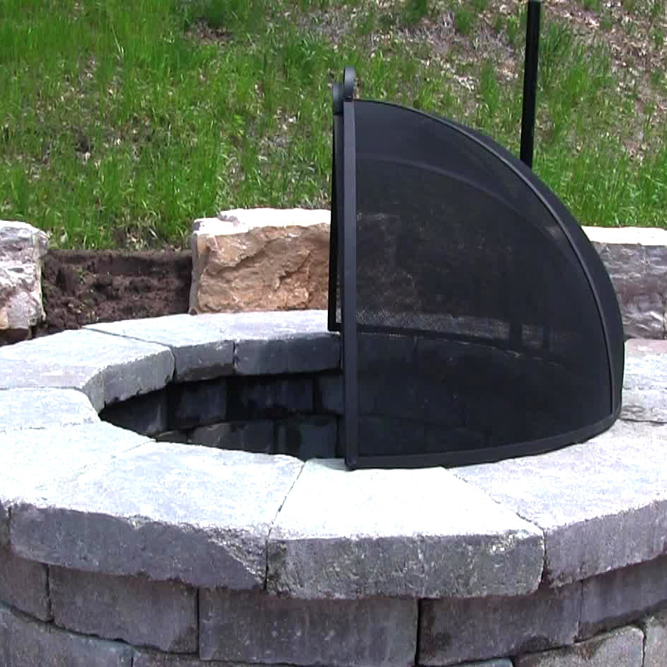 Fire Pit Spark Screen Easy Access Heavy Duty Steel Mesh