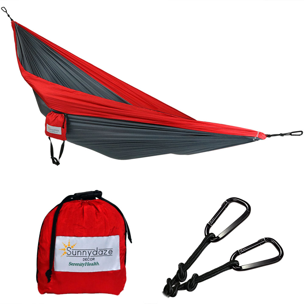 Sunnydaze Portable Double Camping Parachute Hammock, Lightweight Nylon, Includes LY-DCH-Grey/Red