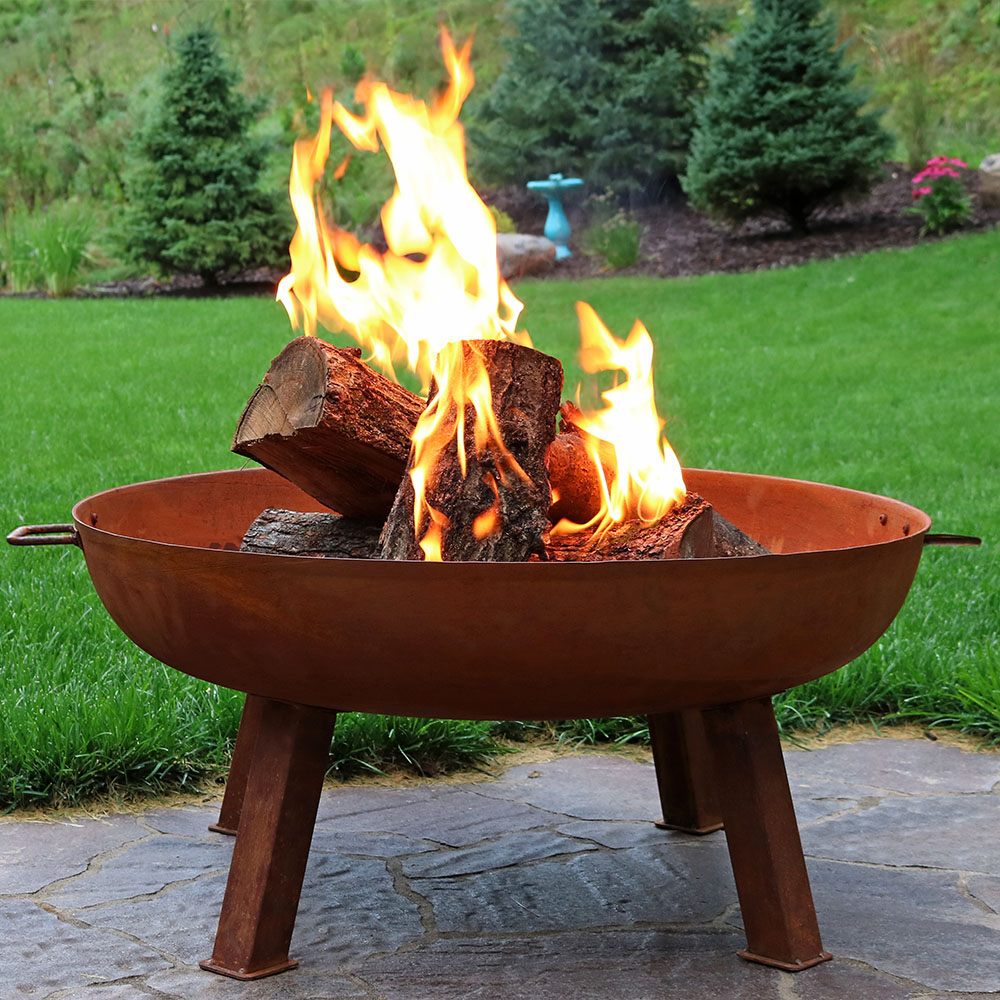 Sunnydaze Cast Iron Outdoor Fire Pit Bowl - 34 Inch Large Round Bonfire Wood Burning Patio & Backyard Firepit for Outside with Portable Fireplace Metal Handles, Rustic