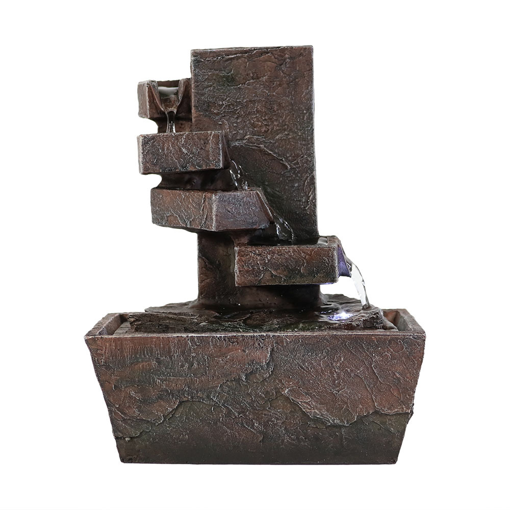Sunnydaze Spiral Staircase Tabletop Water Fountain with LED Light XSS-654