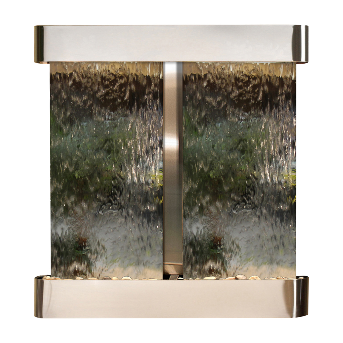 Falls Fountain Rounded Silver Mirror Photo