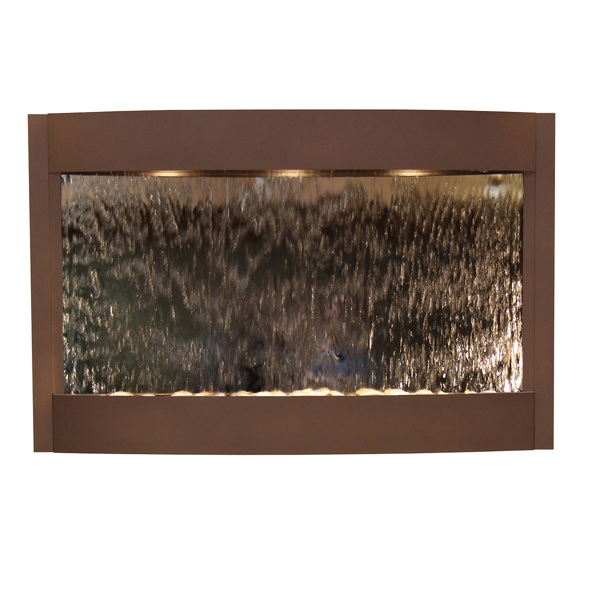 Calming Waters Fountain Brown Silver Mirror Photo