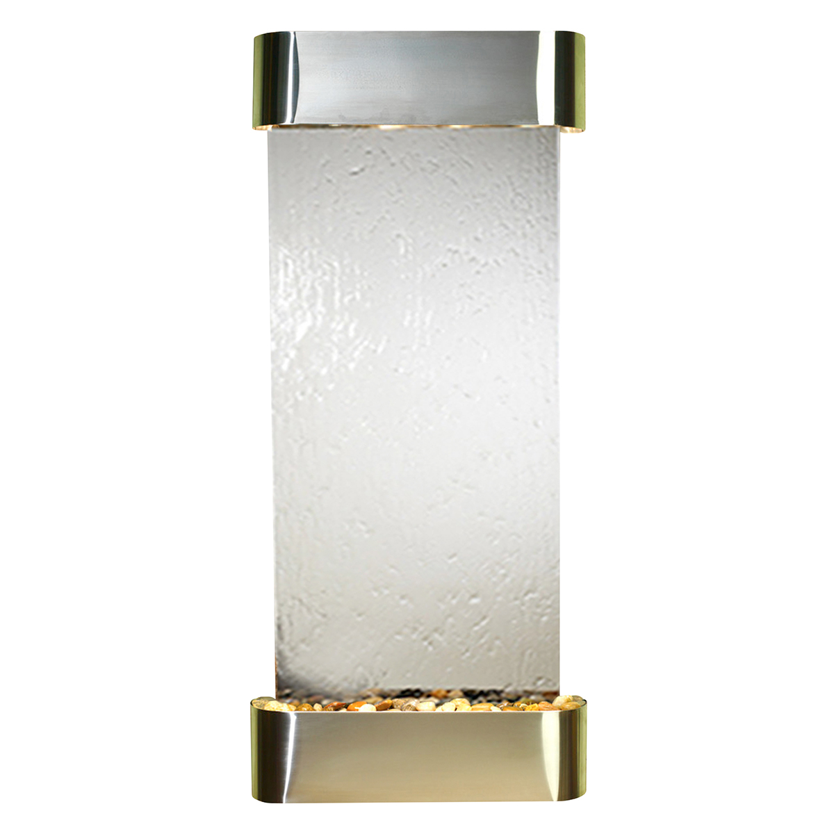 Inspiration Falls Fountain Rounded Silver Mirror Photo