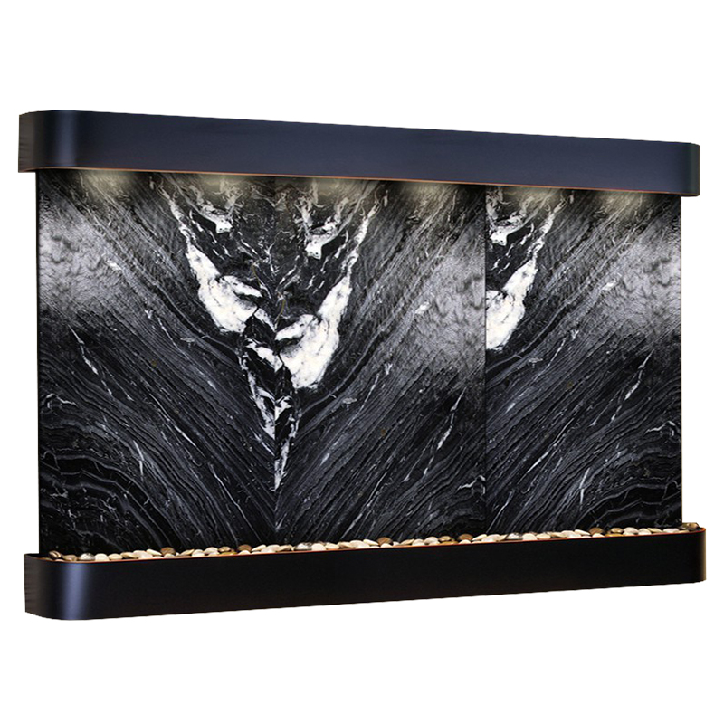 Solitude River Fountain Rounded Black Marble Photo