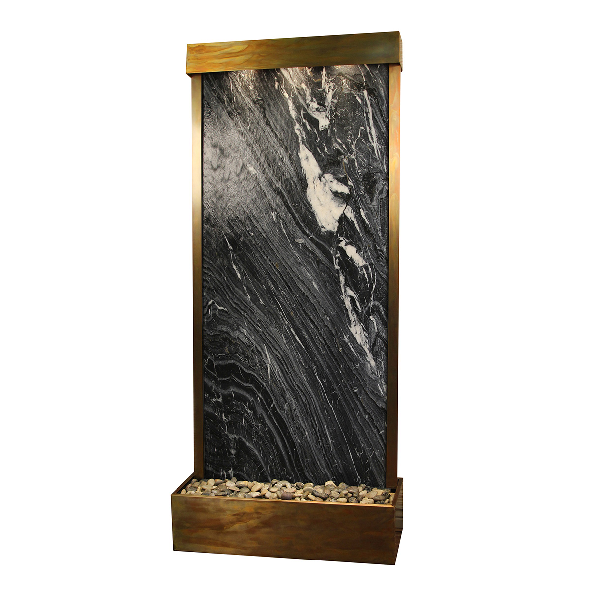 Tranquil River Fountain Flush Mount Black Marble Photo