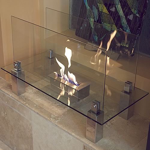 Fiero Freestanding Fireplace Tempered Clear Glass Brushed Stainless Steel Picture 135