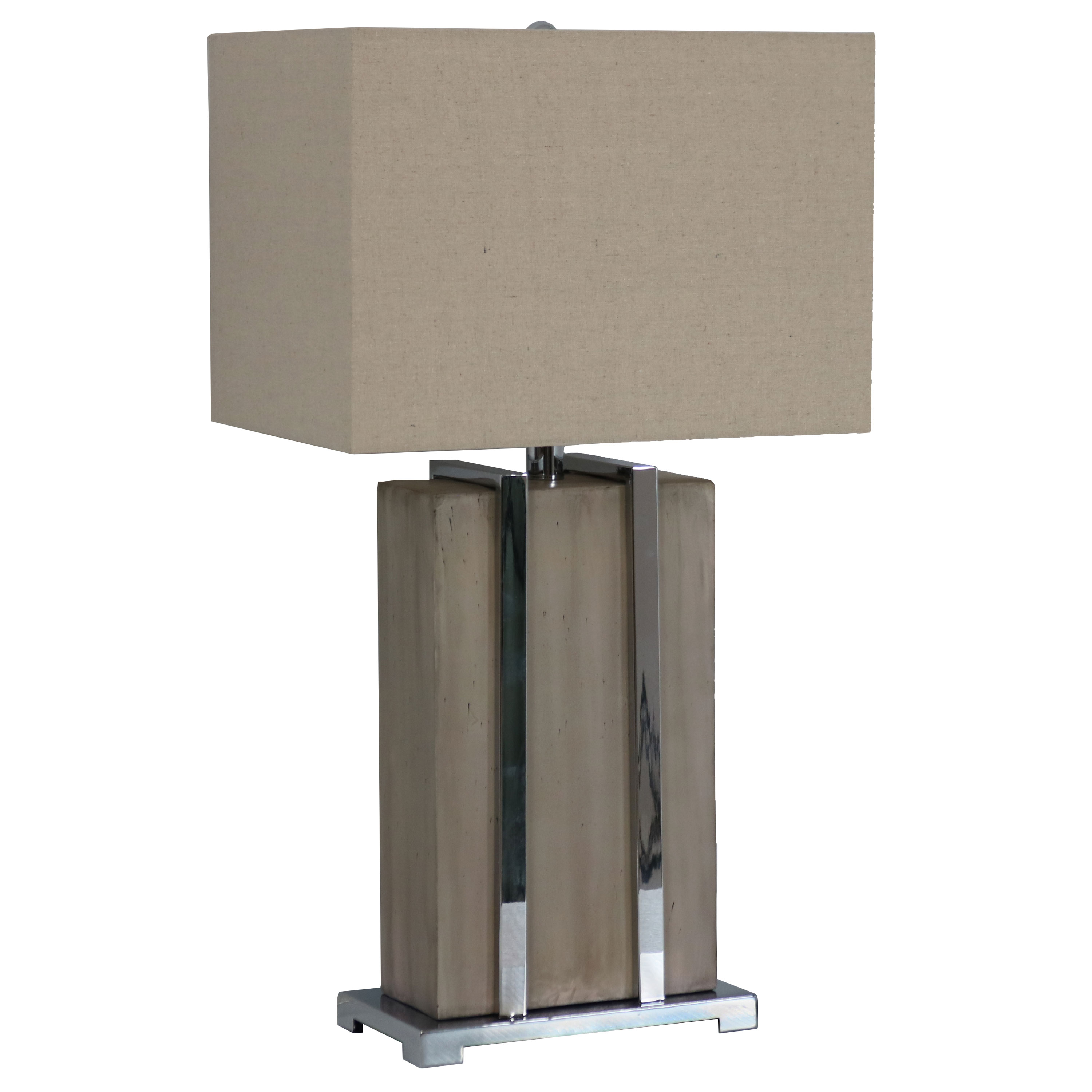 Table Lamp Industrial Inspired Concrete Base Chrome Detailing Lampshade Photo