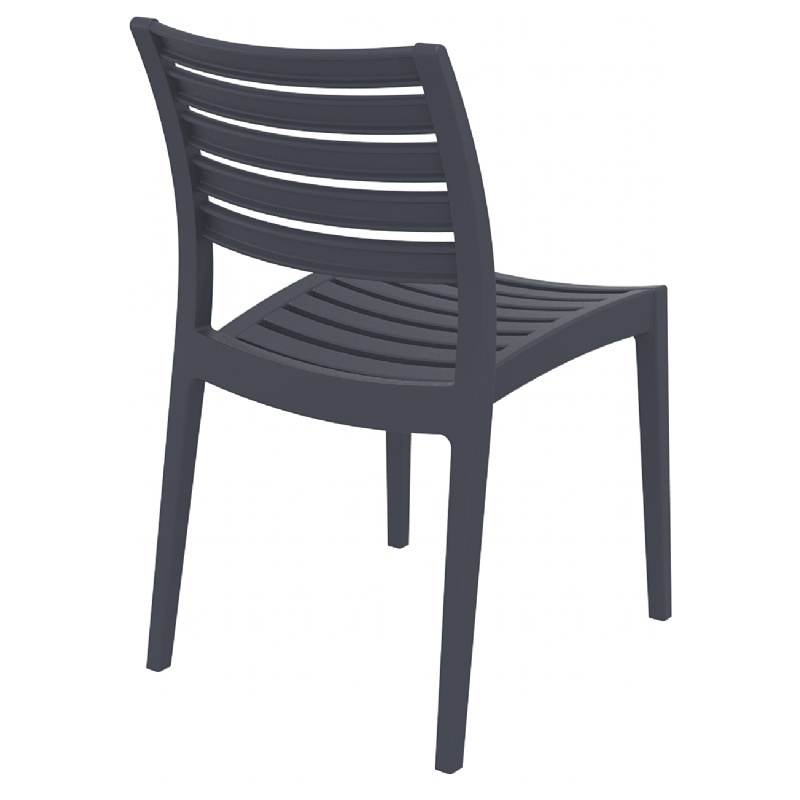 Ares Resin Outdoor Dining Chair (2 Chairs) - Dark Gray