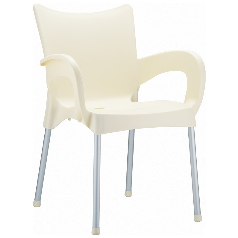 Romeo Stacking Dining Arm Chair Beige Photo