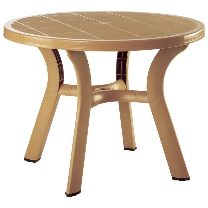 Truva Resin Round Dining Table H D Teak  Image 394