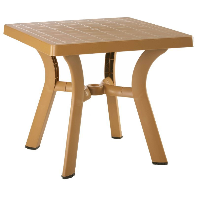 Viva Resin Square Dining Table Teak H D  Picture 702