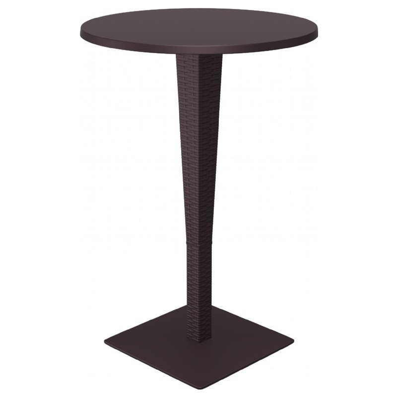 Round Top Bar Height Table Brown Photo