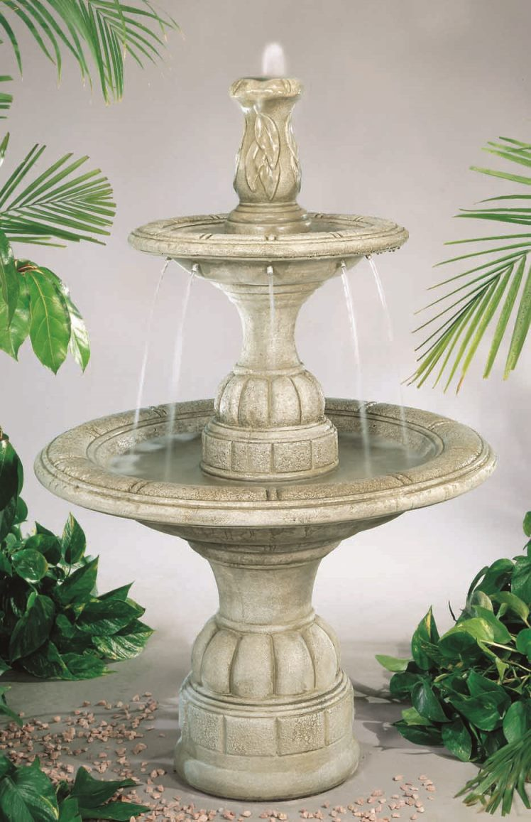 Tiered Cast Stone Small Contemporary Waterfall Fountain Elban Olivestone Picture 72