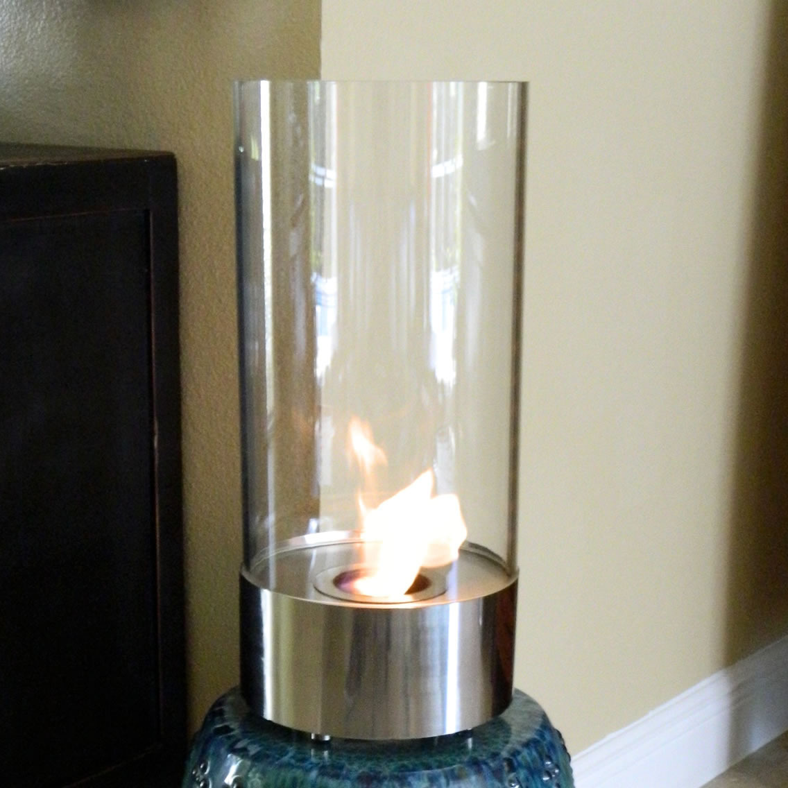 Flame Cristallo Stunning Tabletop Fire Cylinder Photo
