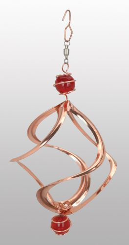 8-inch Cosmix Wind Spinner With Red Marbles: Copper Outdoor Hanging Yard Décor