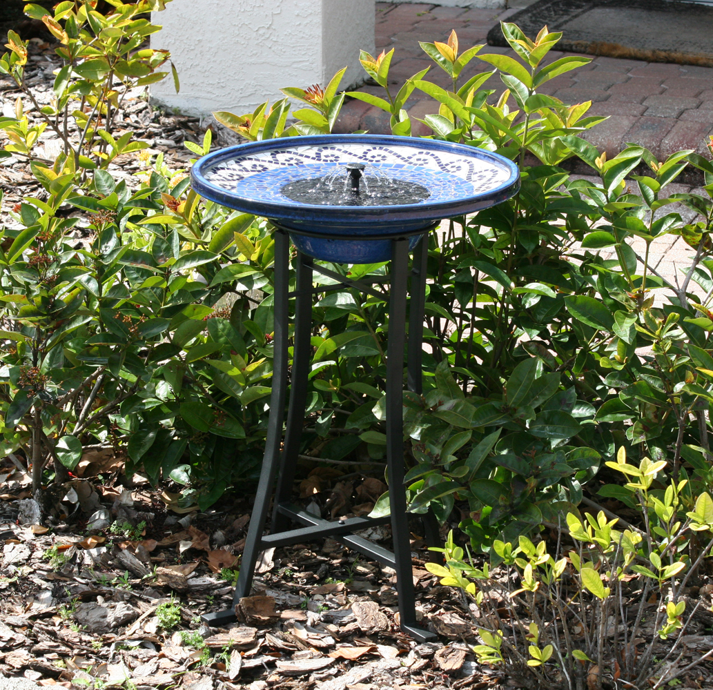 Mosaic Ceramic Solar Birdbath Fountain Photo