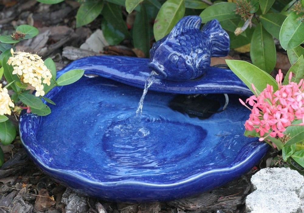 Smart Solar 21372R01 Ceramic Solar Koi Fountain Blue Glazed Finish