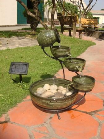 Ceramic Solar Cascading Fountain Glazed Bamboo Design Picture 520