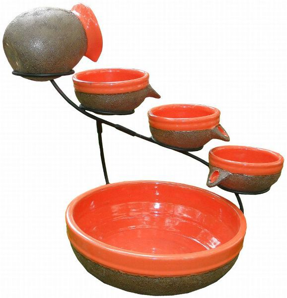 Smart Solar Ceramic Solar Cascade Fountain with Tangerine and Rust Brown Finish