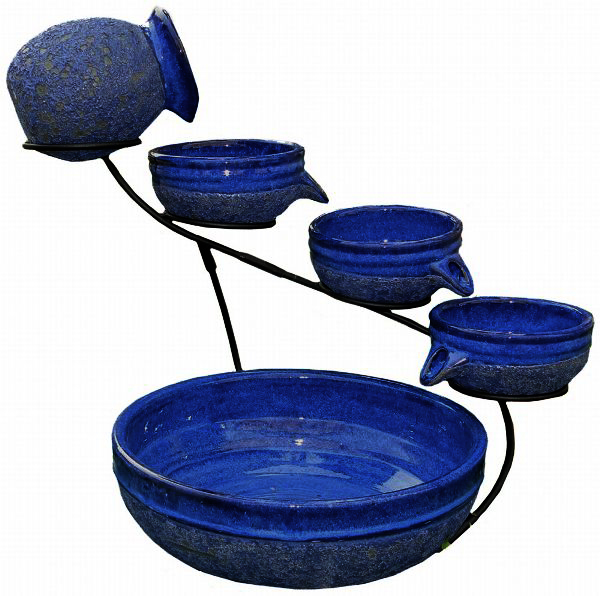 Tier Solar Powered Cascading Fountain Blueberry Rustic Blue Image 547