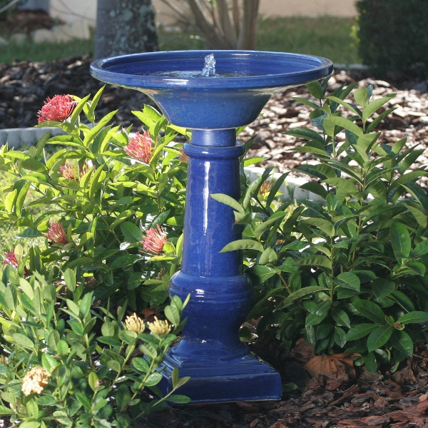 Smart Garden Rm Athena Glazed Blue Ceramic Birdbath Fountain Picture 300