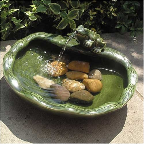 Smartsolar Ceramic Frog Solar Bird Bath Fountain Picture 675
