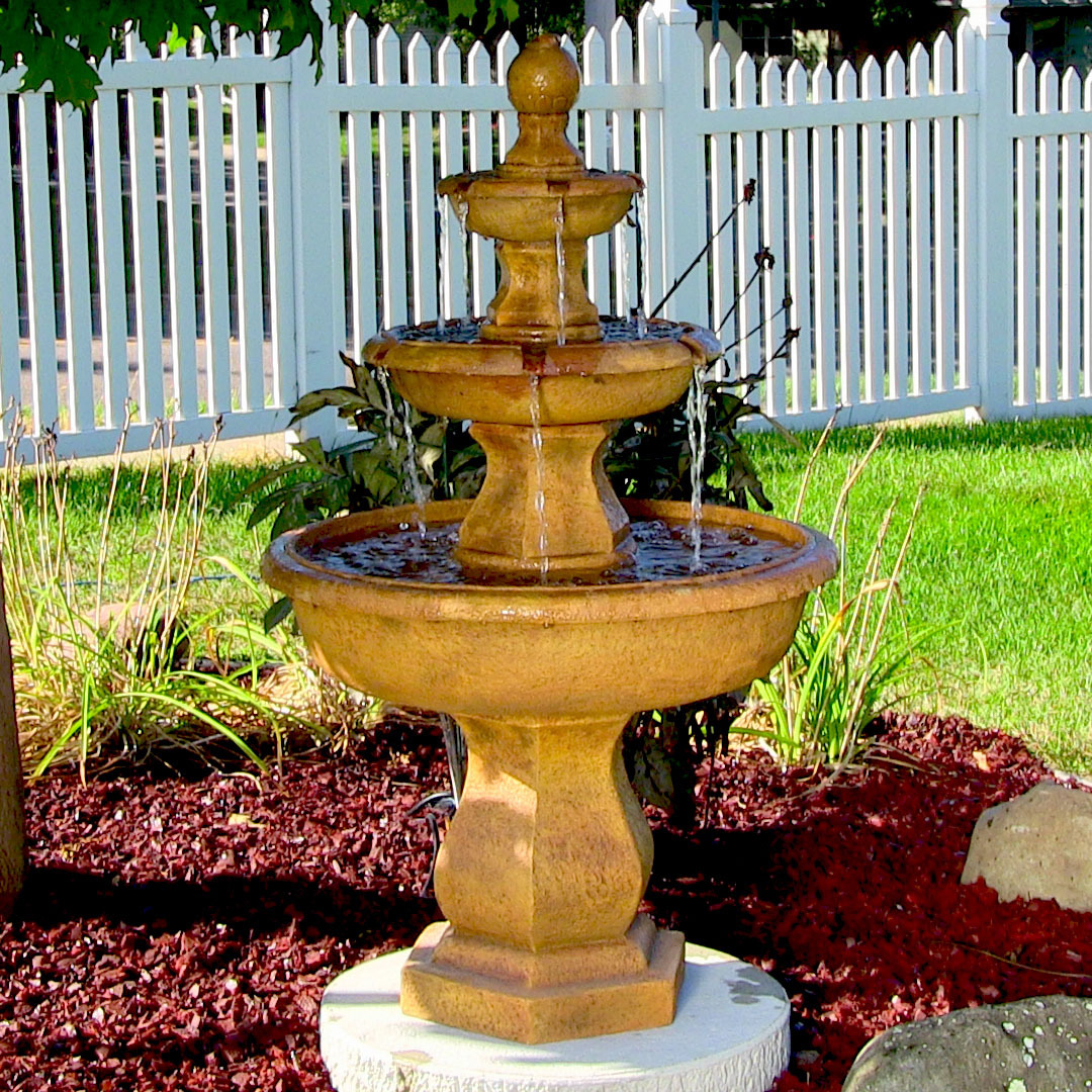 Sunnydaze Tropical Tier Garden Water Fountain Photo