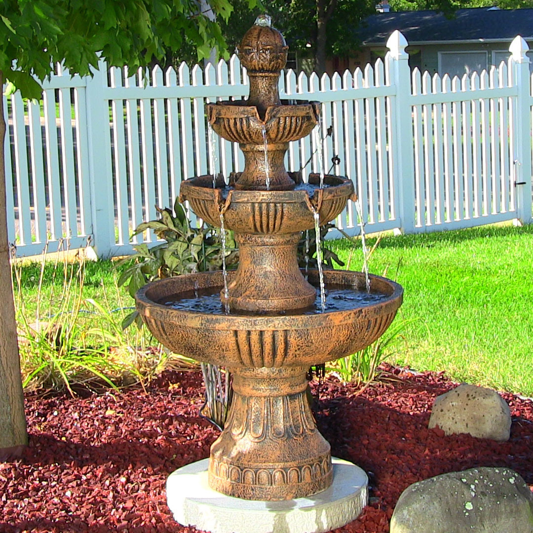 Sunnydaze Flower Blossom Outdoor Electric Tier Water Fountain Picture 209