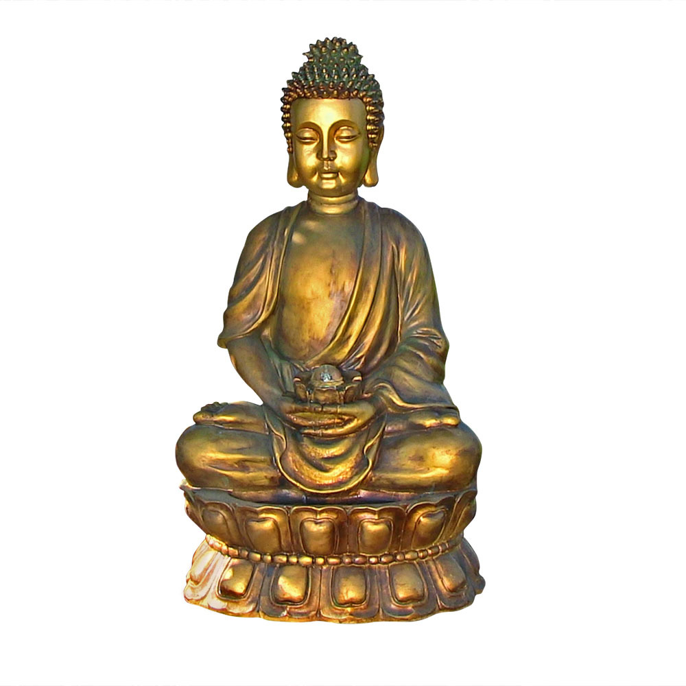 Sunnydaze Outdoor Relaxed Buddha Fountain with Light, 36 Inch Tall