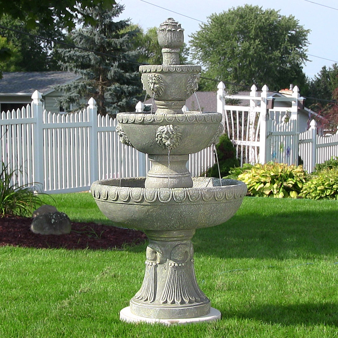 Sunnydaze Four Tier Lion Head Outdoor Water Fountain Includes Electric Submersible Pump Ta Image 178