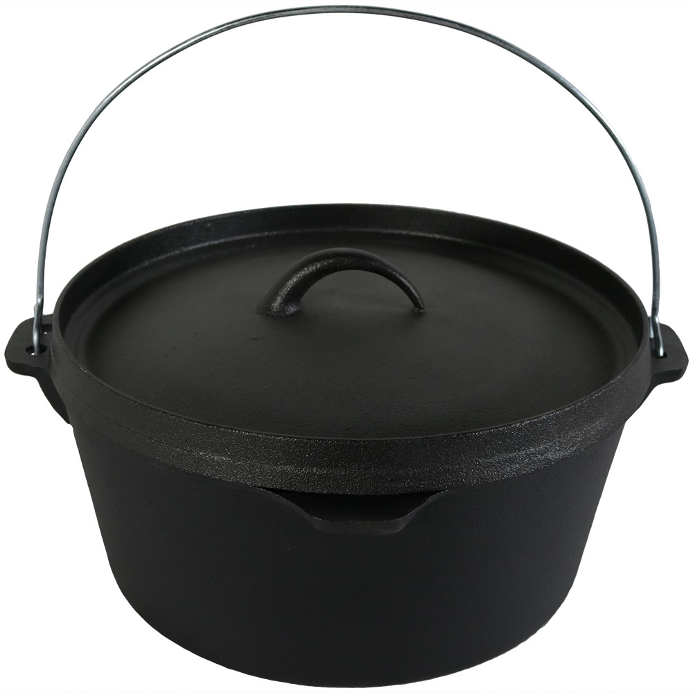 Sunnydaze Large Cast Iron Deep Dutch Oven, Pre-Seasoned, 8-Quart