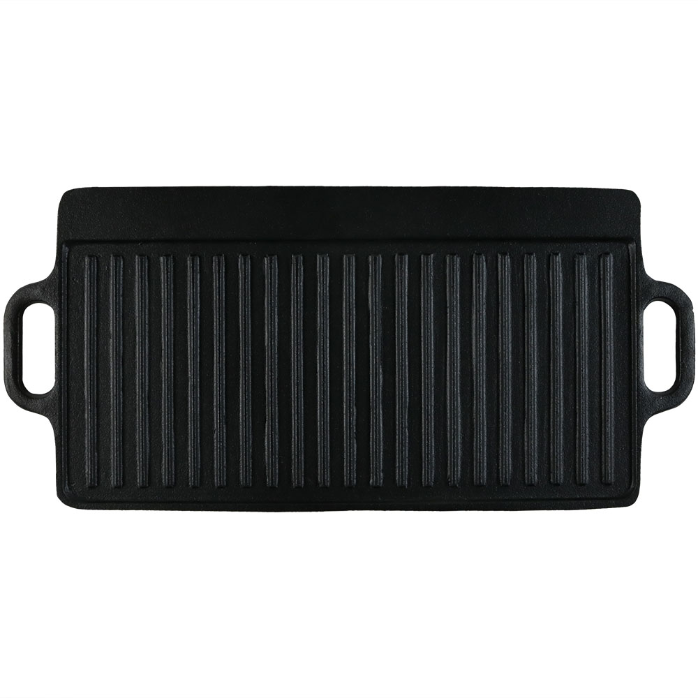 Sunnydaze Cast Iron Grill/Griddle Reversible, Stovetop or Campfire Cooking, Black
