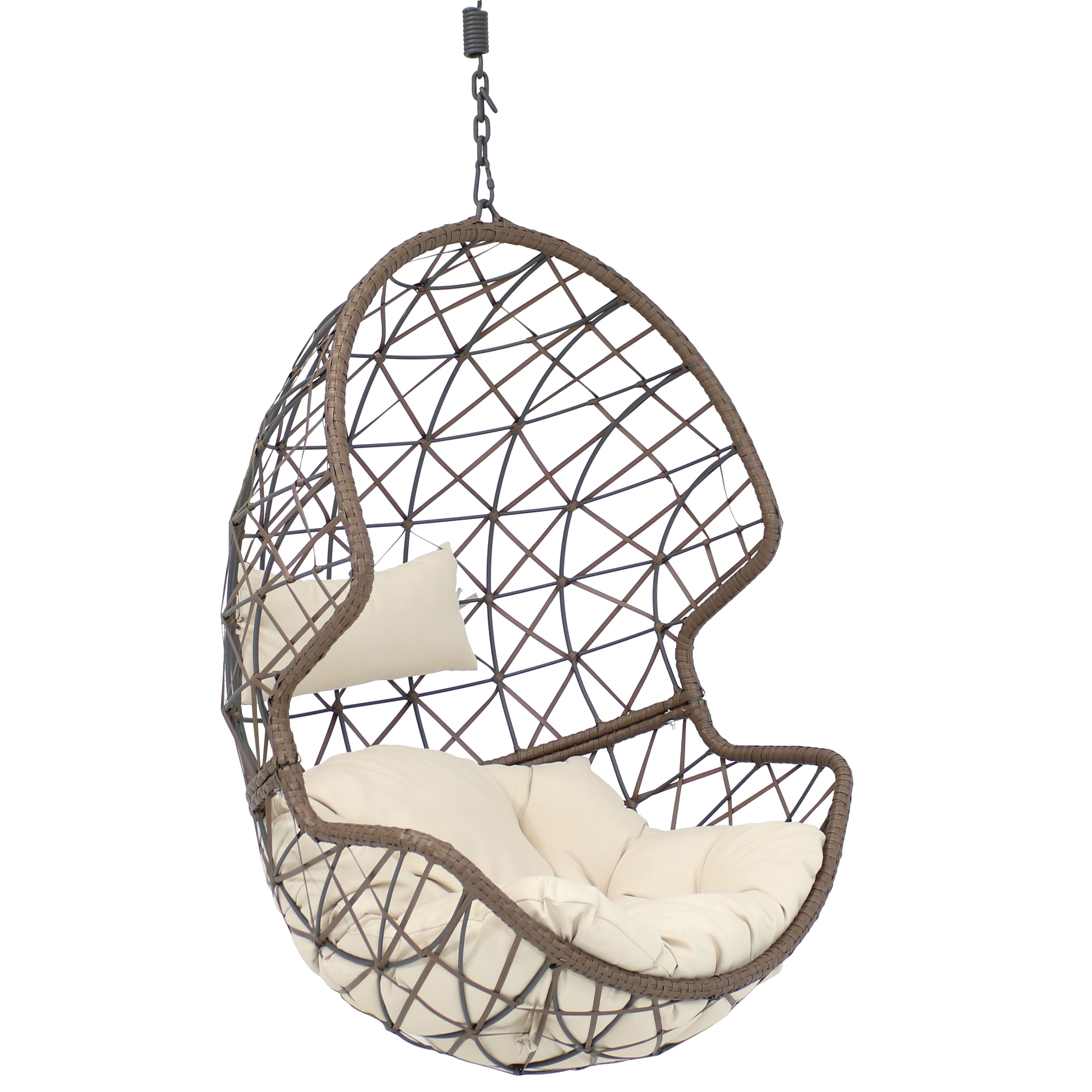 Hanging Egg Chair Swing Wicker Basket Use Beige Cushion Photo