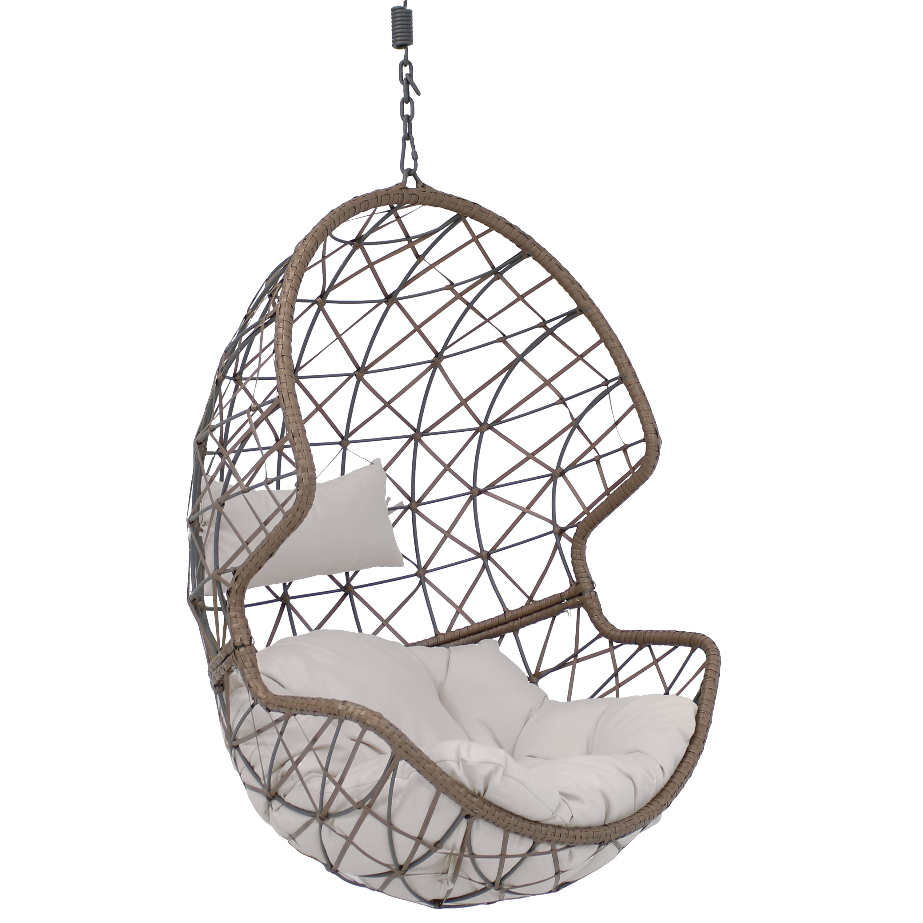 Hanging Egg Chair Swing Wicker Basket Use Gray Cushion Photo