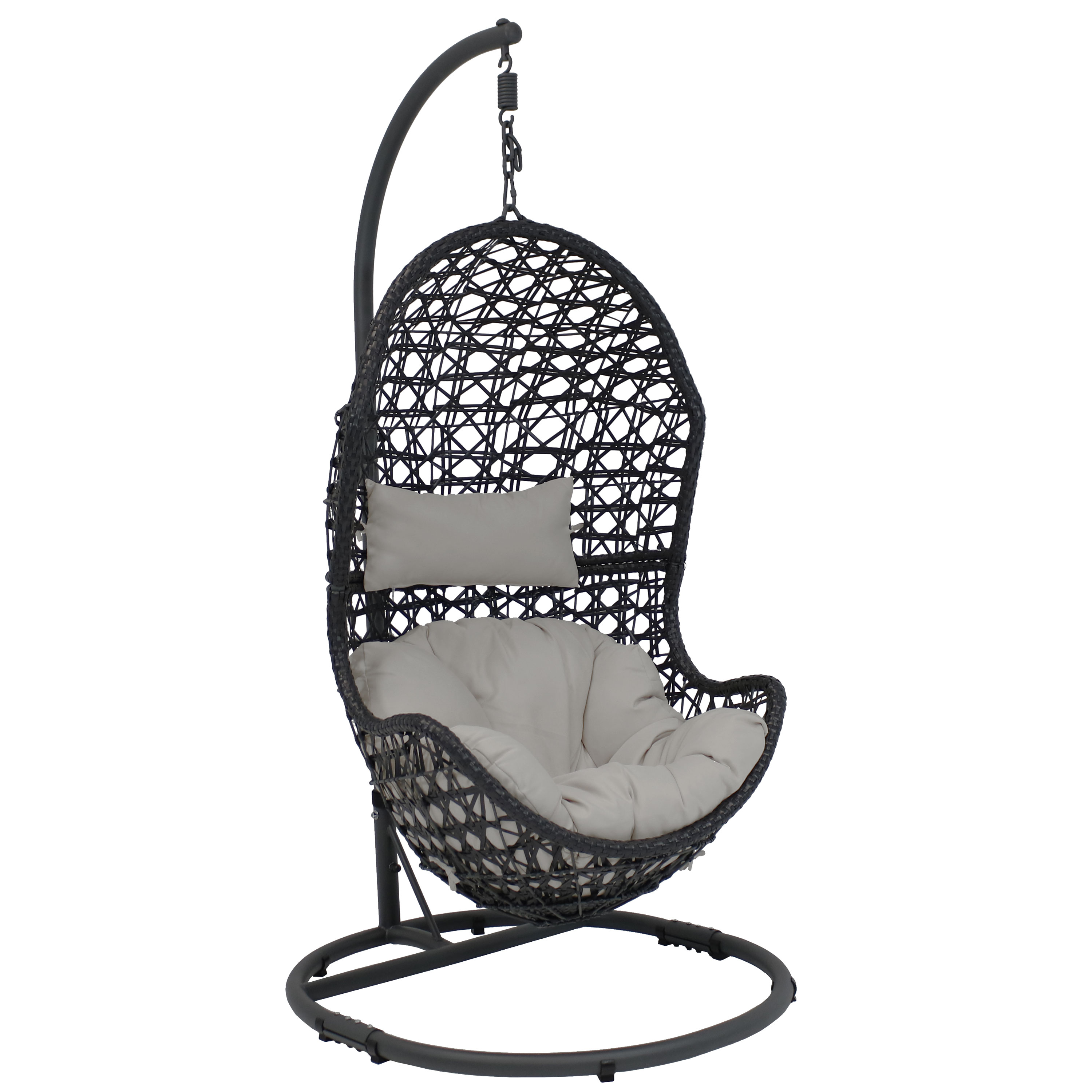 Hanging Egg Chair Swing Stand Set Wicker Basket Use Gray Cushion Headrest Photo