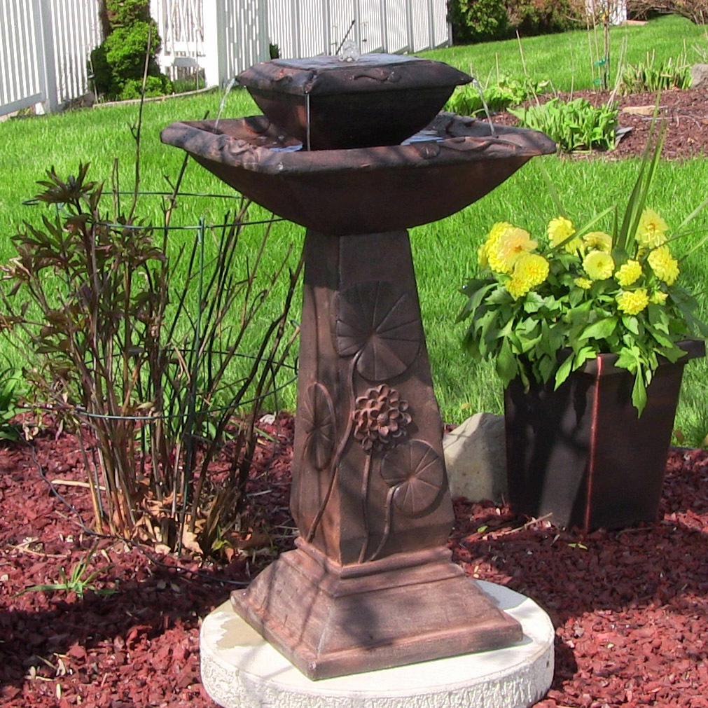 Design Lily Leaf Two Tier Solar On Demand Water Fountain Rust  Picture 349