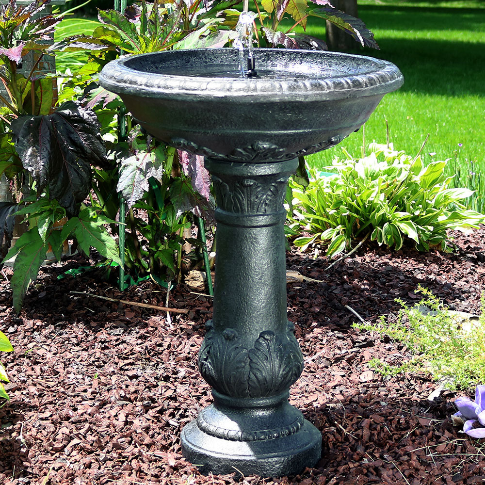 Sunnydaze Oasis Solar On Demand Bird Bath Water Fountain Photo