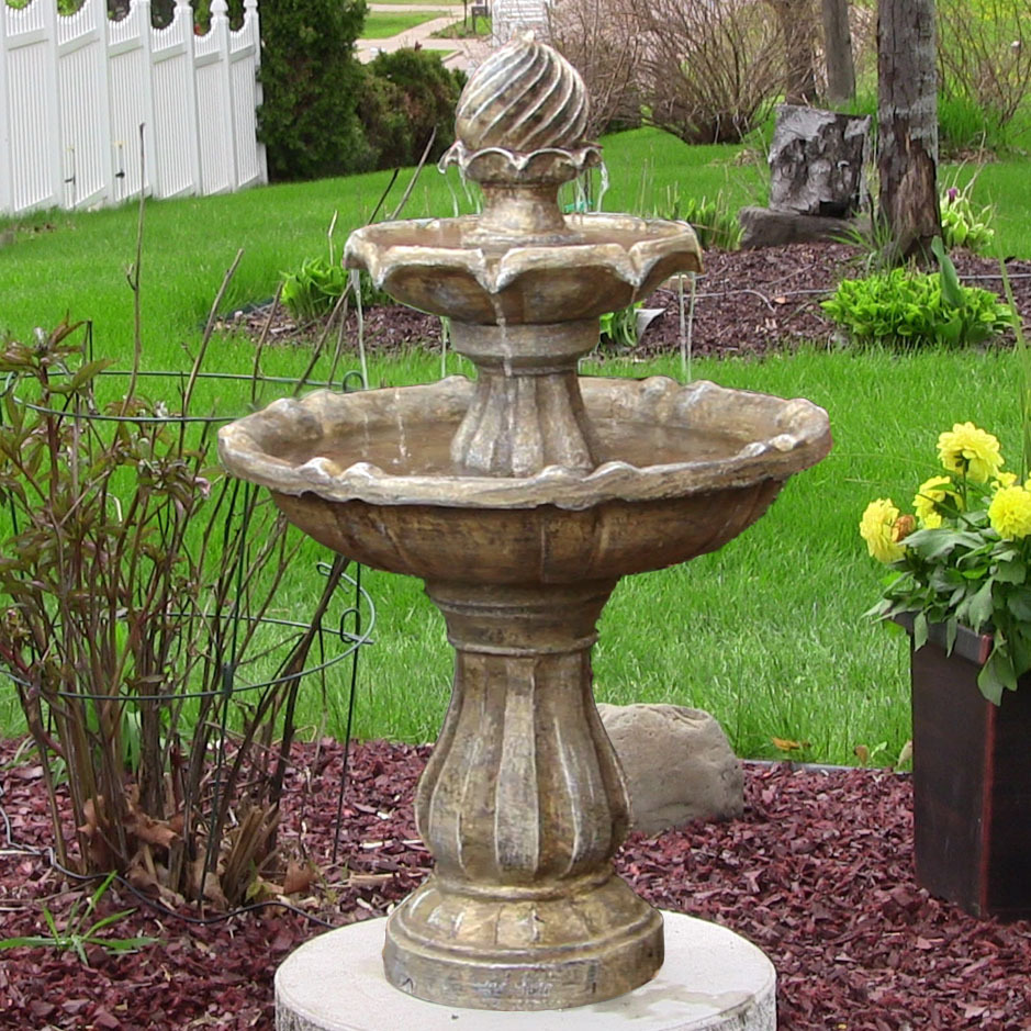 Sunnydaze Two Tier Solar On Demand Outdoor Water Fountain Earth  Picture 313