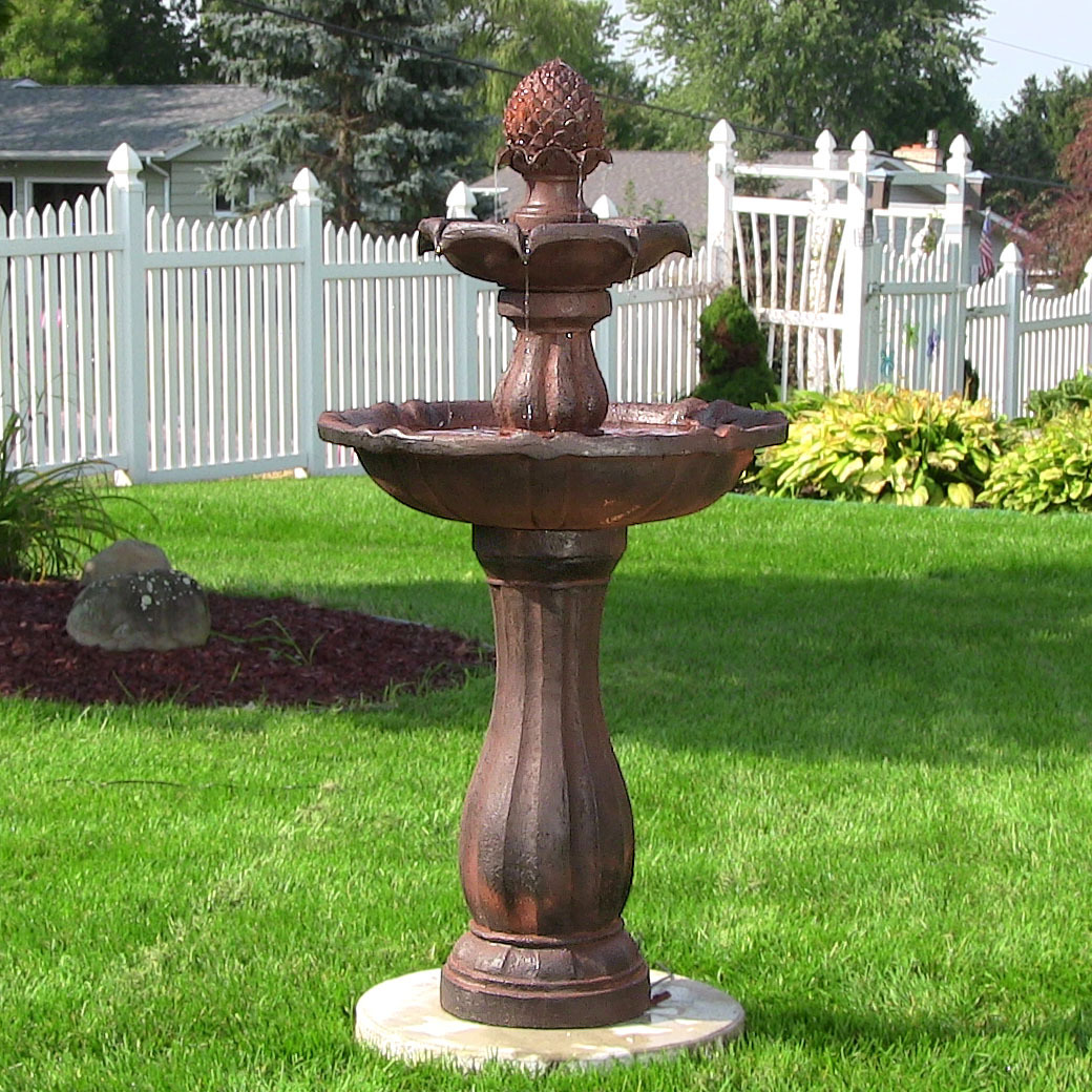 Sunnydaze Two Tier Pineapple Solar On Demand Fountain Rust  Image 478