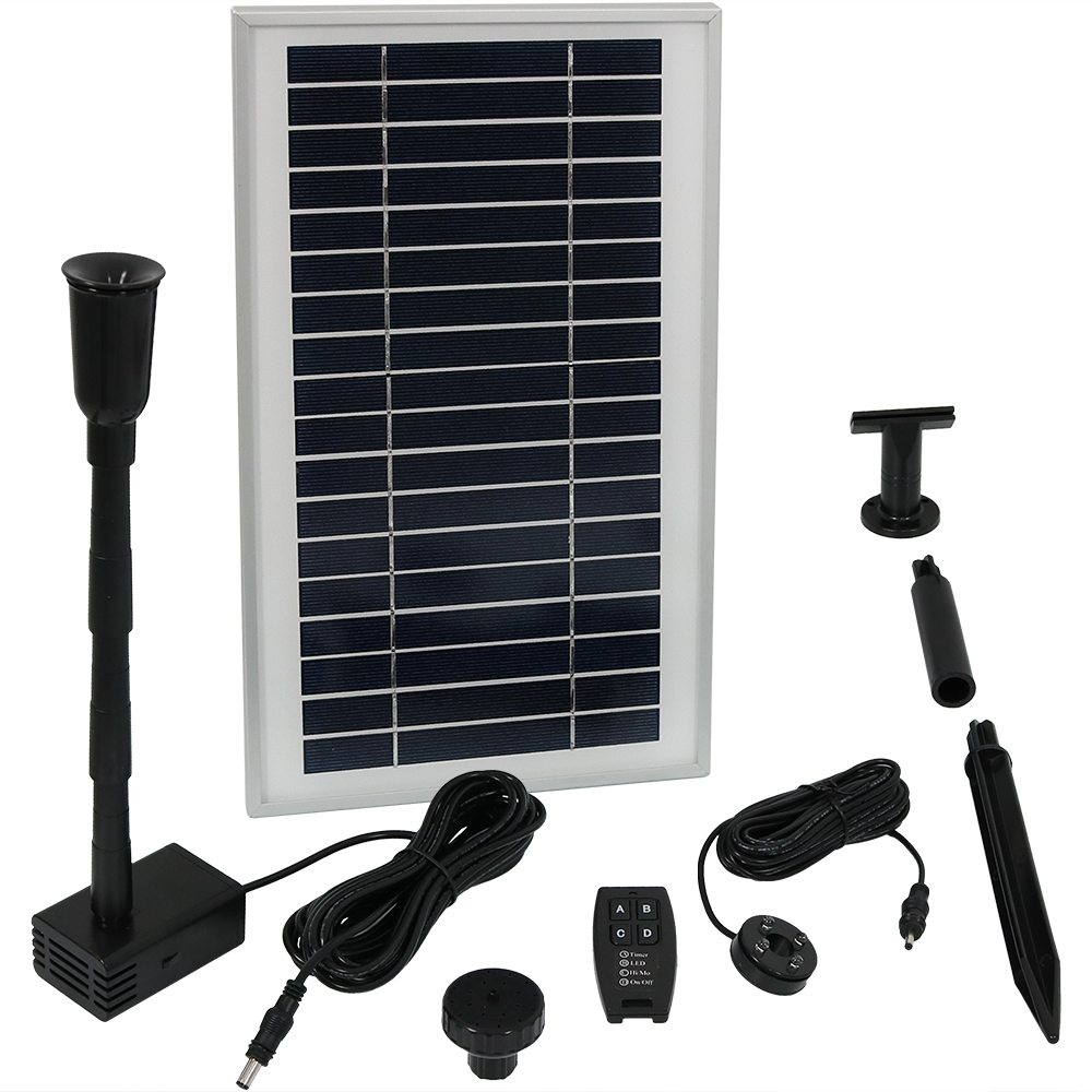 Solar Powered Water Pump Panel Kit Battery Pack Remote Control Use Water Fountain Bird Bat Photo