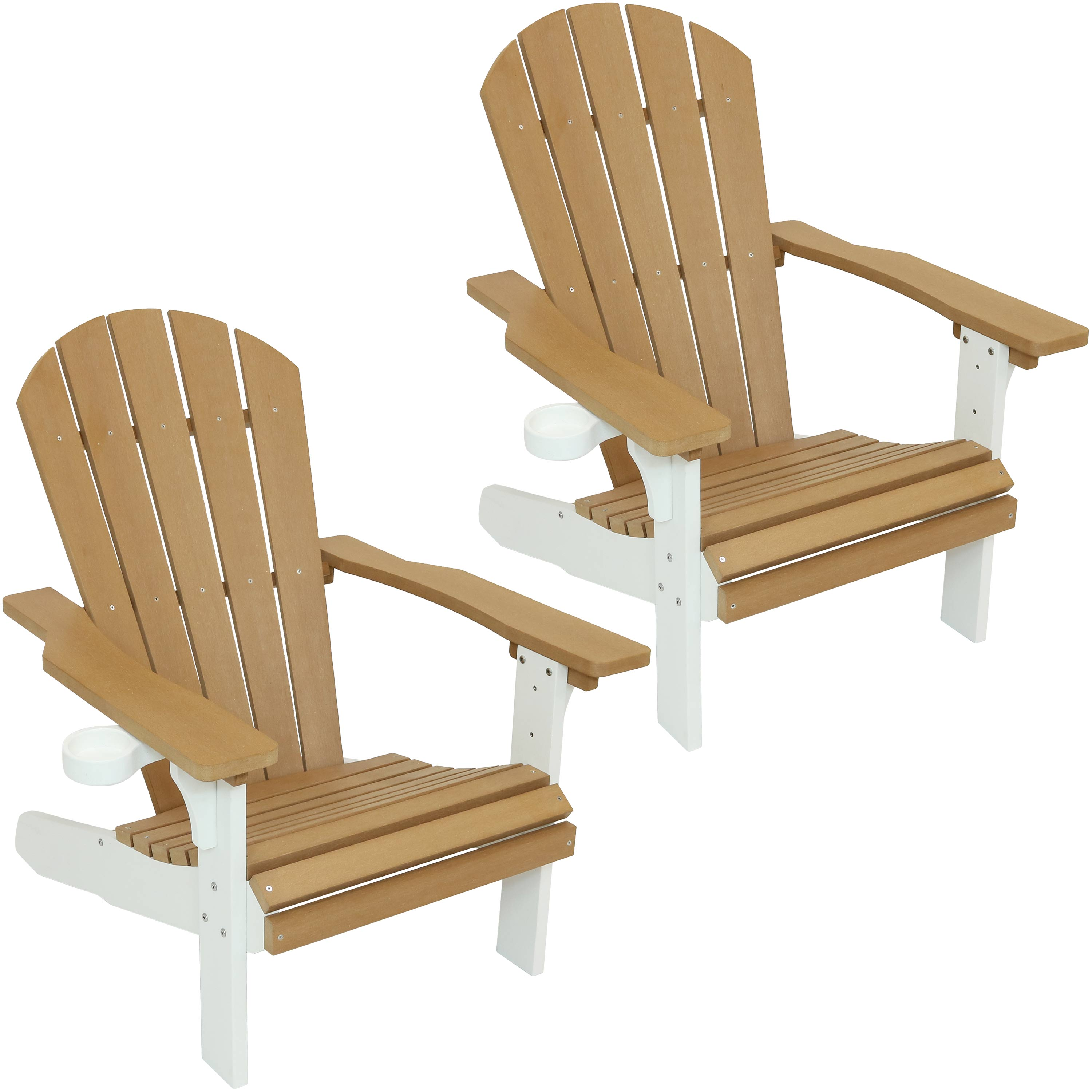 Adirondack Patio Chair Tone Faux Wood Brown White Photo