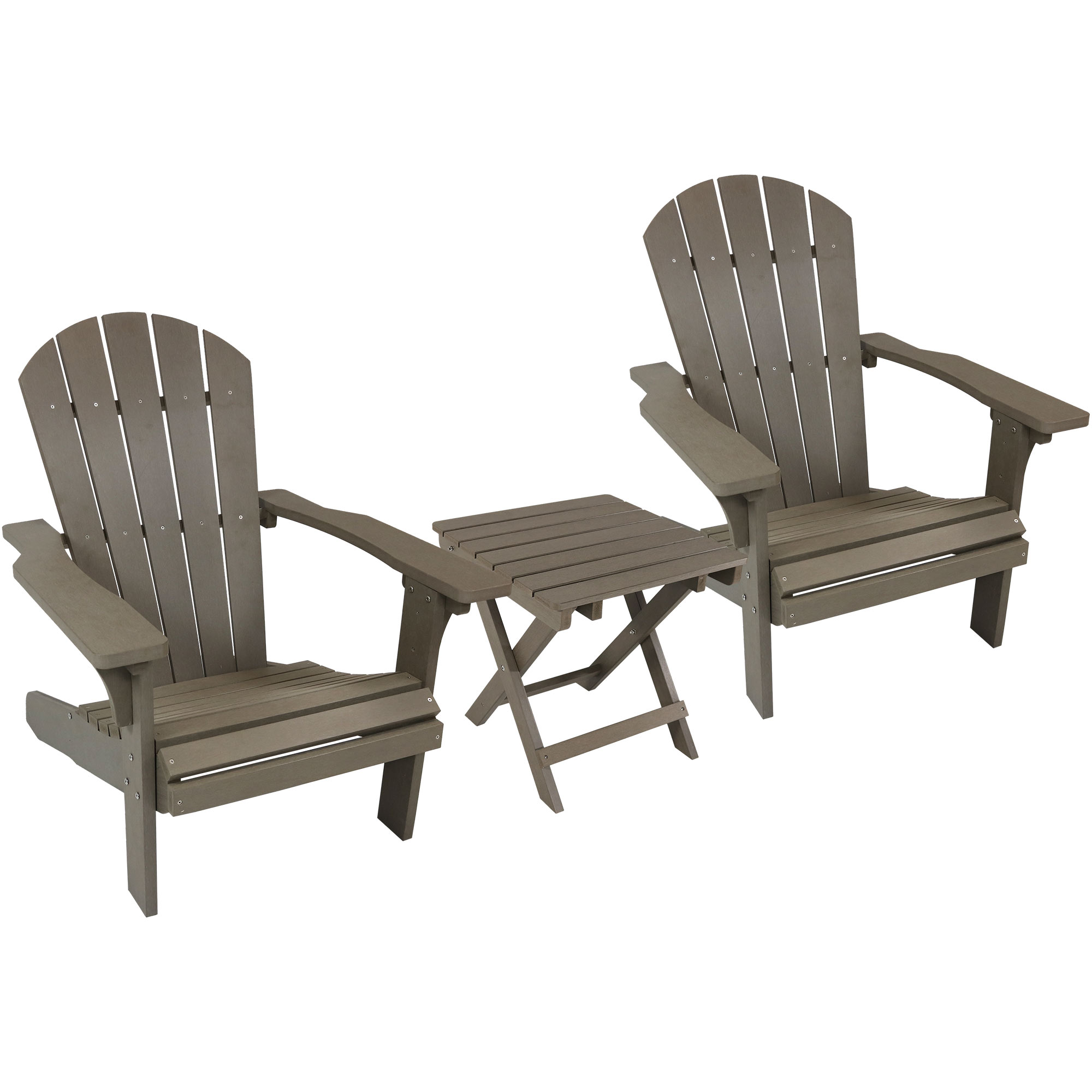 Adirondack Chair Folding Side Table Faux Wood Gray Photo