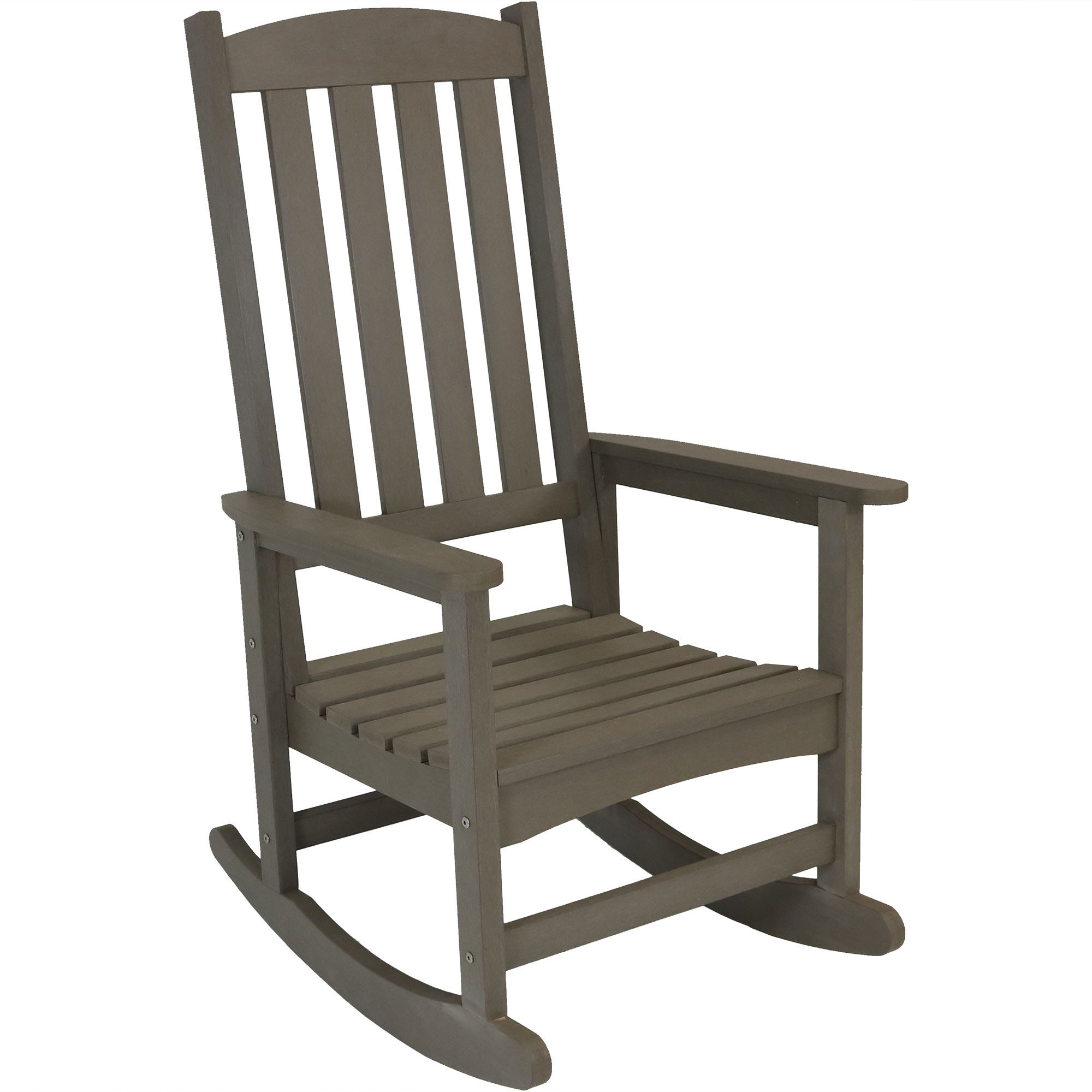 Patio Rocking Chair Faux Wood Gray Photo