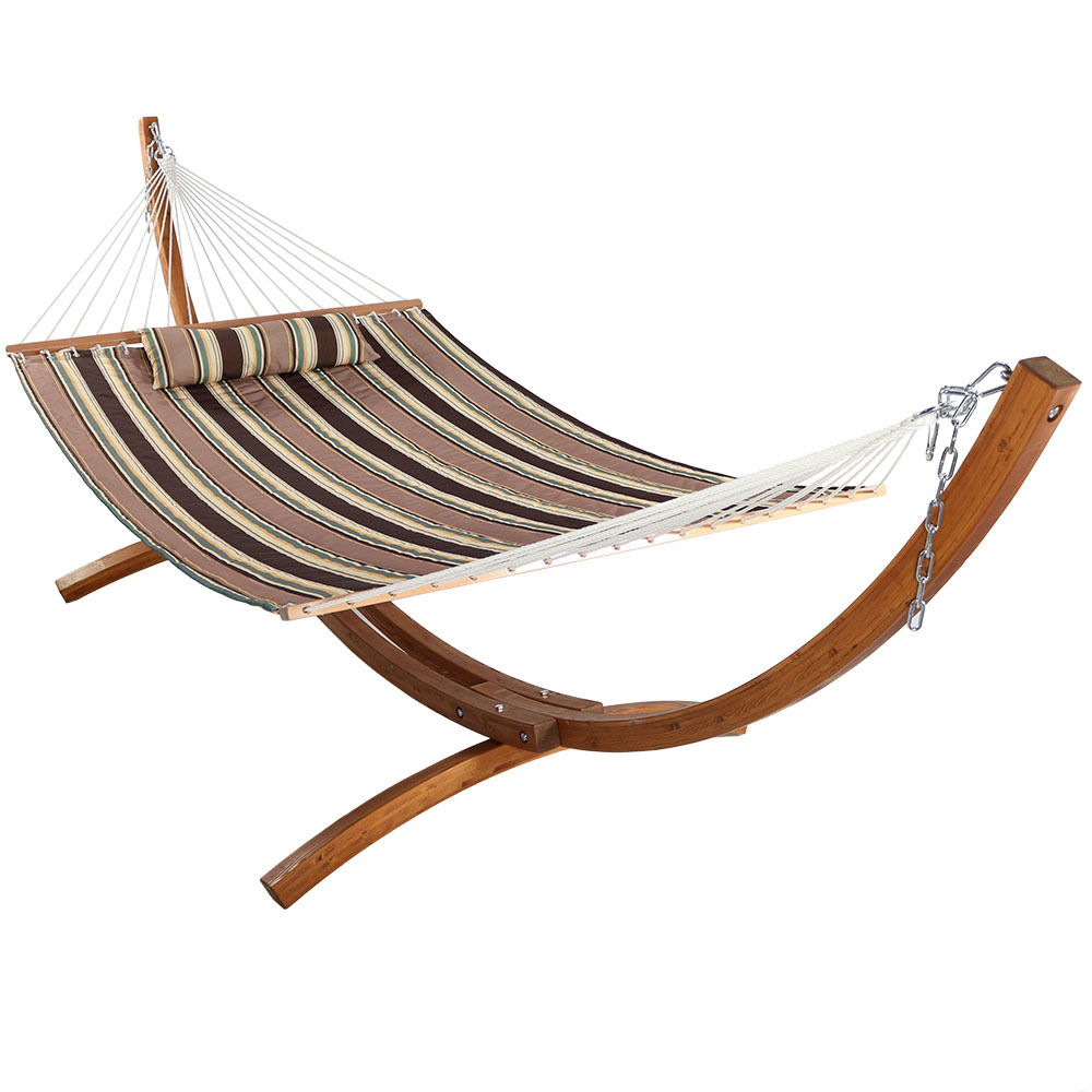 Hammock Curved Arc Wood Stand Sandy Beach Photo