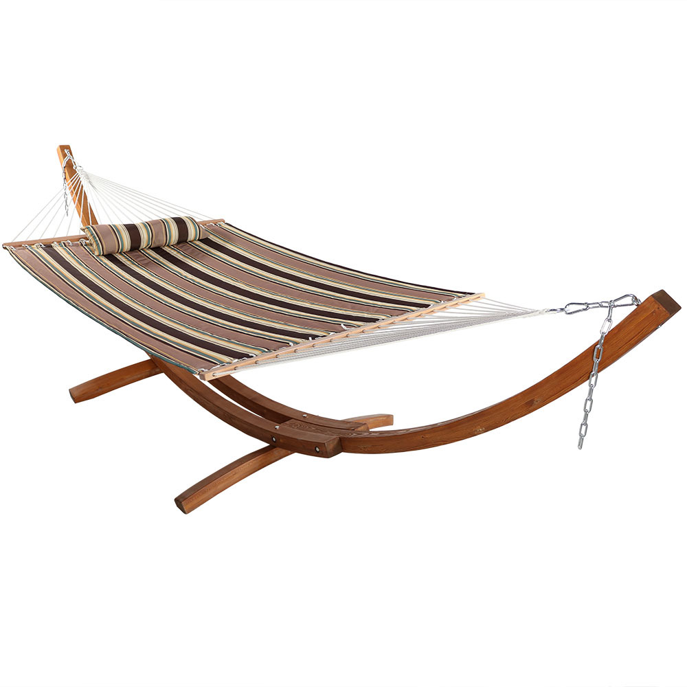 Double Hammock Curved Arc Wood Stand Sandy Beach Pound Photo